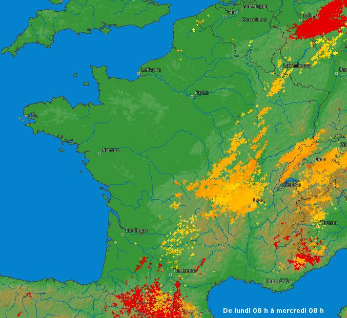 Image d'illustration pour Orages localement violents (Bourgogne - Jura) et fortes pluies