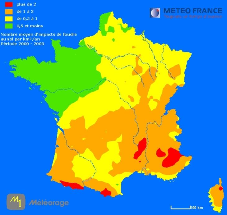 Image d'illustration pour Ou la foudre frappe-t-elle le plus dans le Monde et en France ?