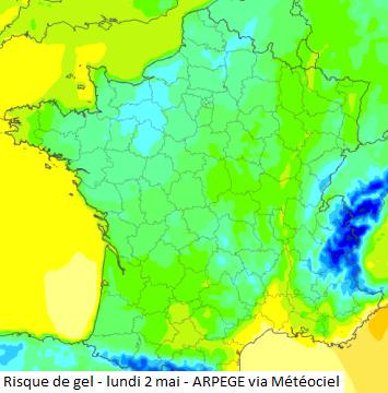 Image d'illustration pour Suivi et prévision du risque de gelée cette semaine