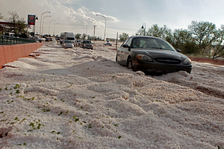 Image d'illustration pour Orage de grêle impressionnant à Santa Rosa (Nouveau Mexique)