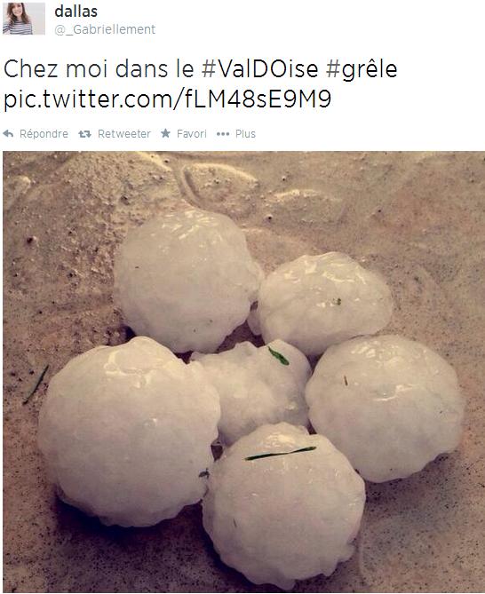 Image d'illustration pour Orage de grêle violent sur Yvelines, Val d'Oise, Oise, Aisne - énormes grêlons