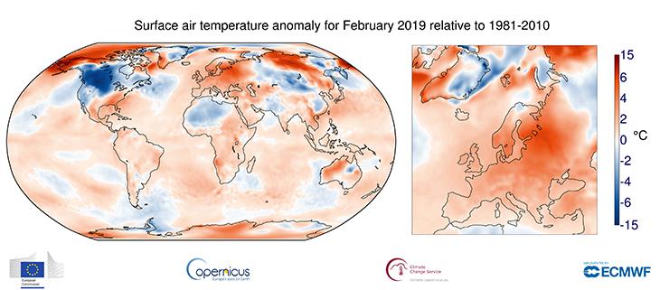 Image d'illustration pour Février 2019 sur le podium des mois de février les plus doux dans le Monde