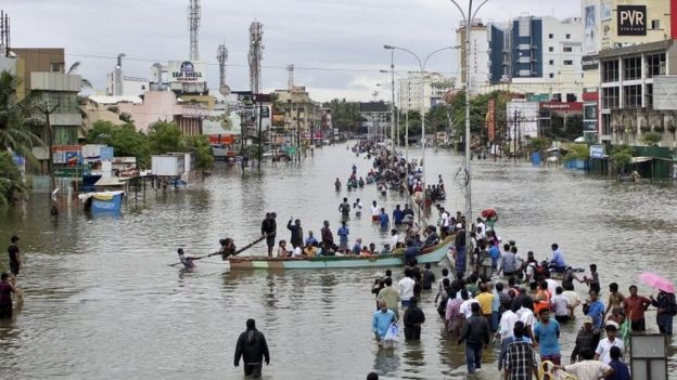 Image d'illustration pour Inondations meurtrières autour de Chennai en Inde