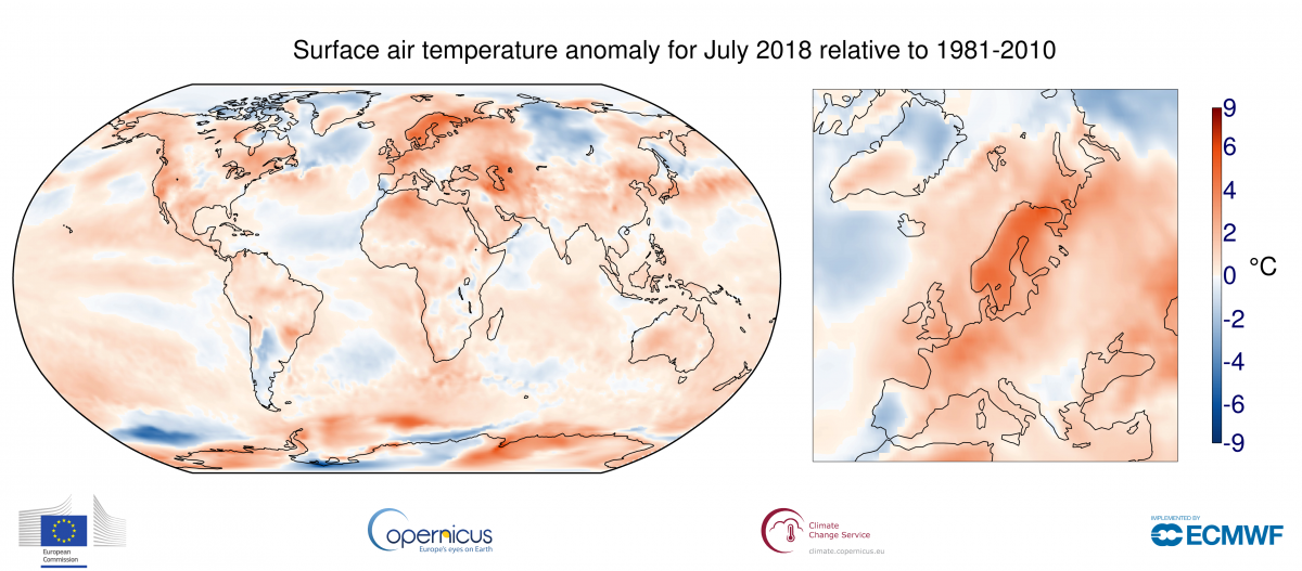 Image d'illustration pour Juillet 2018 : le 2e plus chaud en Europe, 3e place à l'échelle mondiale