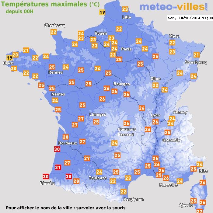Image d'illustration pour Records et chaleur remarquable du 17 au 20 octobre