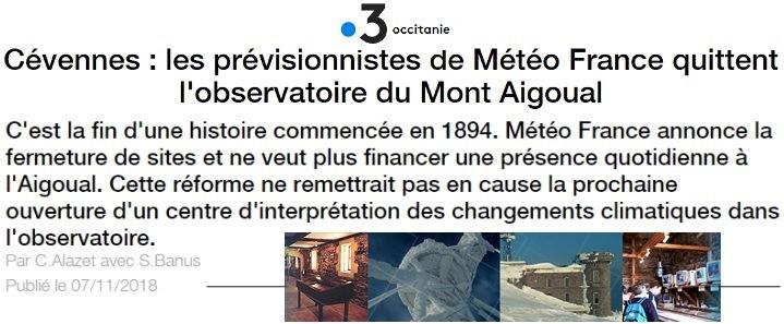 Image d'illustration pour L'observatoire météo du Mont Aigoual dans la tourmente