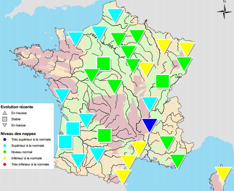 Image d'illustration pour Situation des nappes phréatiques : favorable sauf NE et Languedoc Roussillon