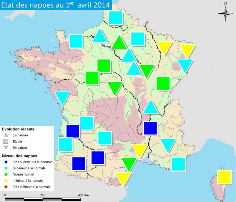 Image d'illustration pour Niveaux élevés des nappes phréatiques (sauf NE et Languedoc Roussillon)