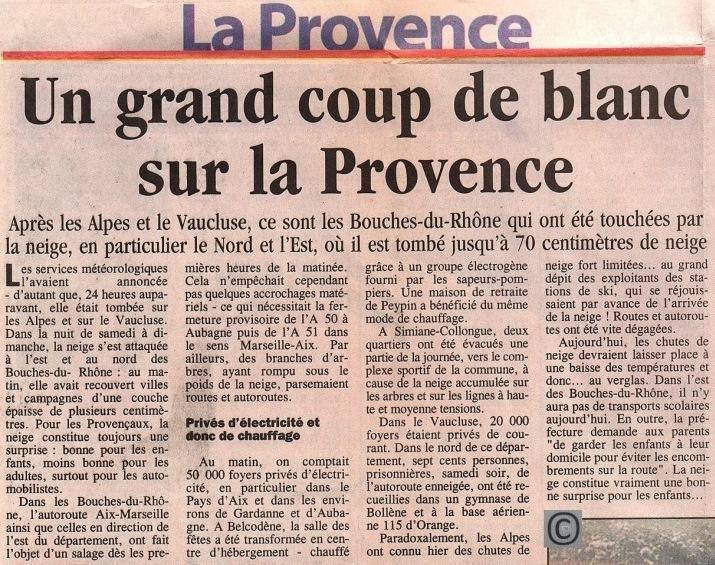 Image d'illustration pour Neige entre Vallée du Rhône et Provence en novembre 1999