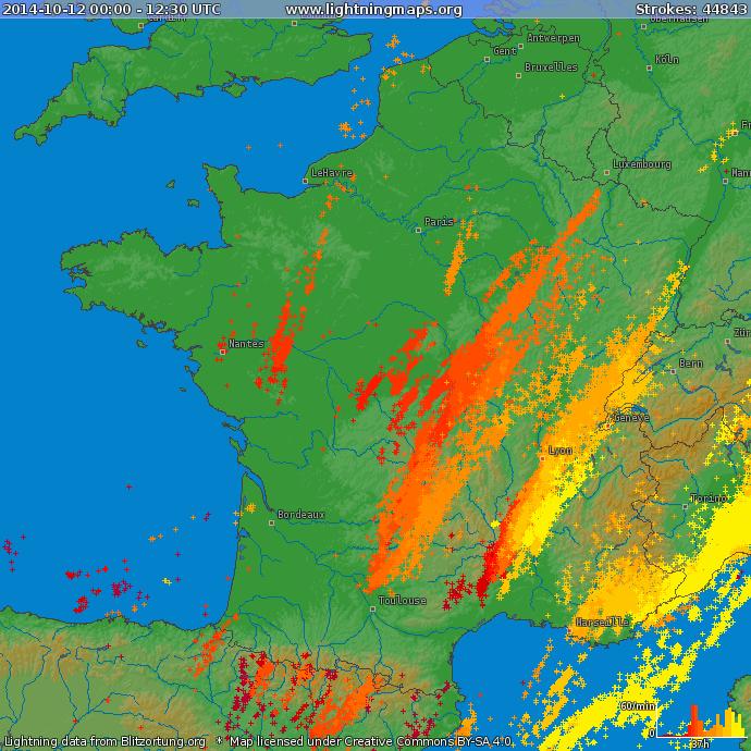 Image d'illustration pour Synthèse de l'épisode pluvio-orageux des 12 et 13 octobre