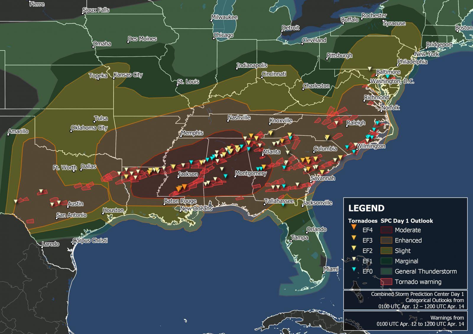 Image d'illustration pour Tornades aux Etats-Unis : Pâques meurtrier dans la Dixie Alley
