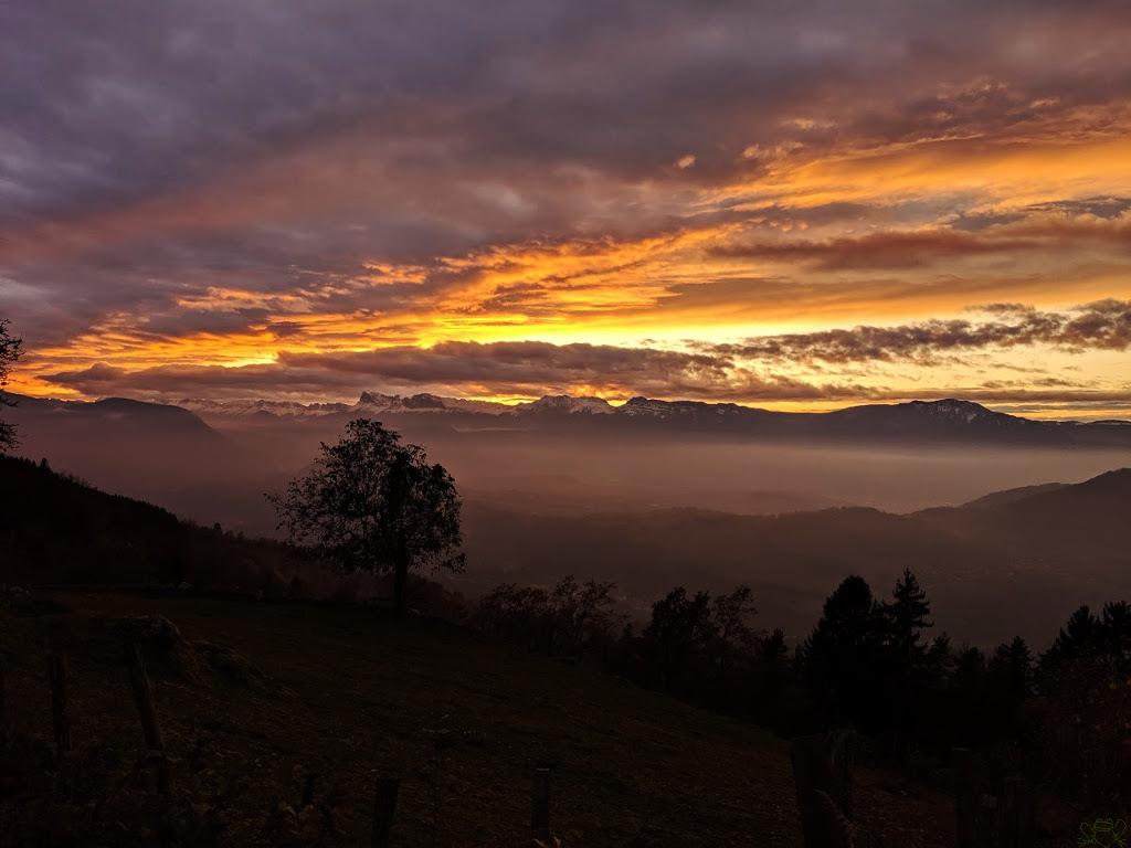 Le coucher de soleil automne.