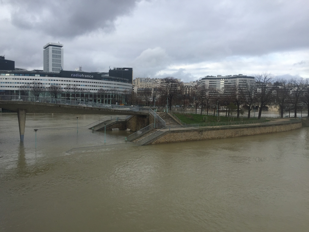 la crue de la Seine au niveau de l'île aux cygnes
