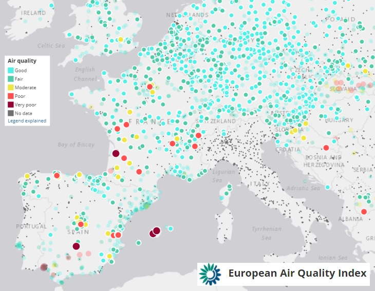 Image d'illustration pour La pollution de l'air en temps réel sur la France et l'Europe