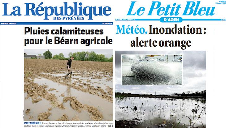 Image d'illustration pour Fortes pluies et crues vers les Pyrénées