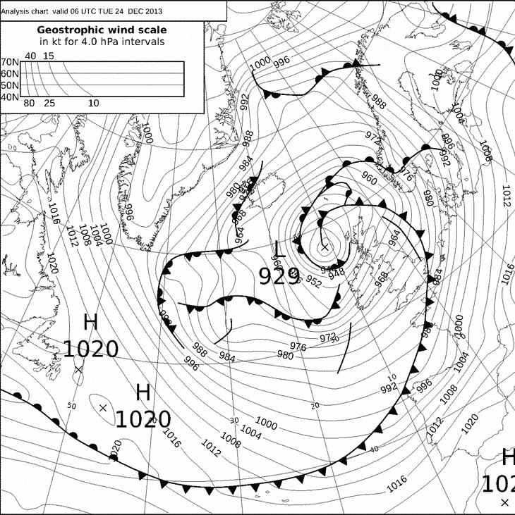 Image d'illustration pour Tempête Dirk : pressions atmosphériques remarquables