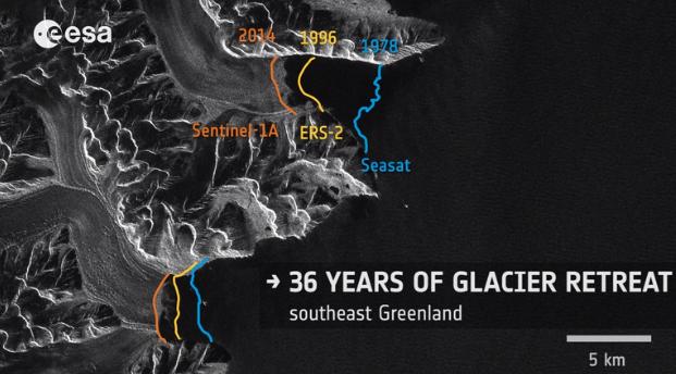 Image d'illustration pour Réchauffement climatique : retrait des glaces du Groenland vu du satellite