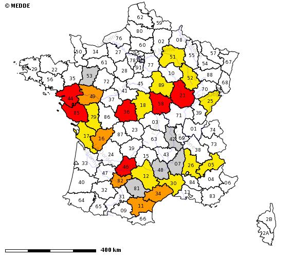 Image d'illustration pour Sécheresse de surface : carte des arrêtés de restriction de l'usage de l'eau