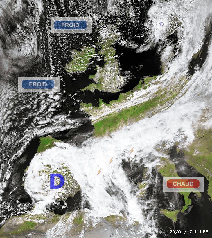 Image d'illustration pour Toujours un conflit de masse d'air sur l'Europe lundi (sat)