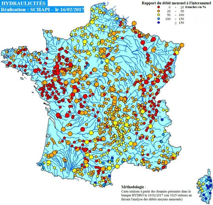 Image d'illustration pour Niveau des cours d'eau très bas par manque de pluie