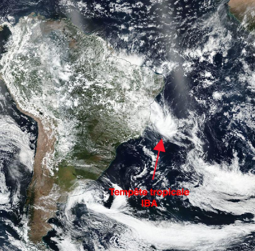 Image d'illustration pour Tempête tropicale Iba : un phénomène rare en Atlantique Sud