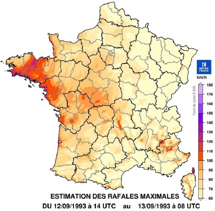 Image d'illustration pour L'ex-ouragan Floyd devenu tempête en France en septembre 1993