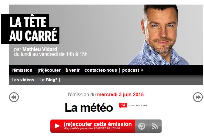 Image d'illustration pour La tête au carré sur France Inter consacrée à la météo
