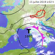 Image d'illustration pour Orages, trombes et neige le 15 juillet des Alpes à la Corse