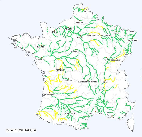 carte cours d eau france 50 cours d'eau en vigilance crue   05 novembre 2013.html