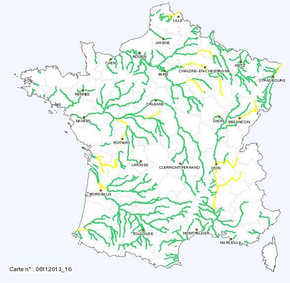 carte cours d eau france Niveaux des cours d'eau : en amélioration mais sous surveillance