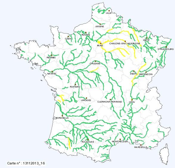 Image d'illustration pour Décrue sur la plupart des cours d'eau