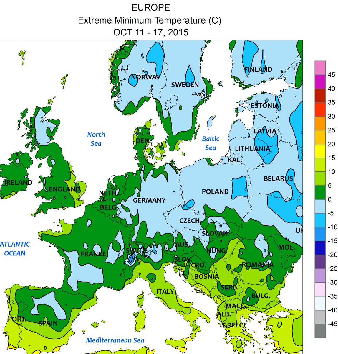 Image d'illustration pour Progression du gel et de la forte gelée sur l'Europe en cette mi-octobre